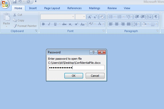 how can open password protected word file